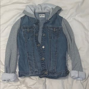 Jean jacket with grey accents